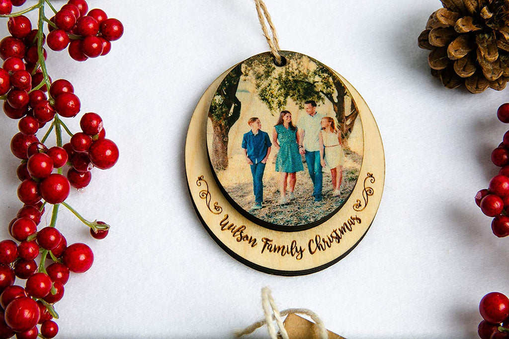 Personalized Christmas Ornament Double Hang With Your Custom Photo Print on Wood