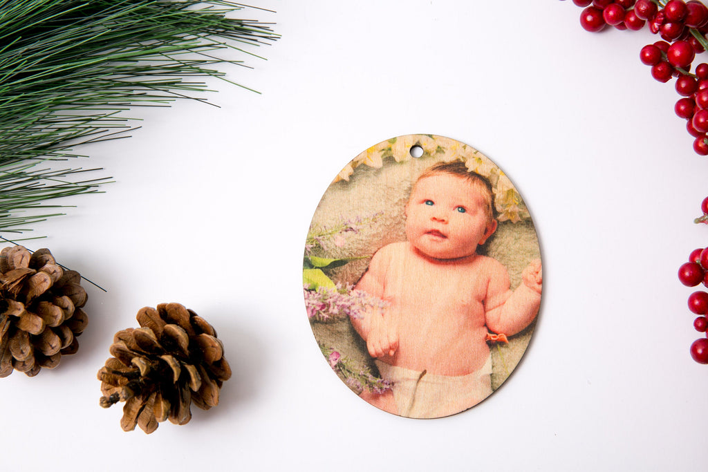 Personalized Your First Breath Newborn Christmas Ornament with Photo