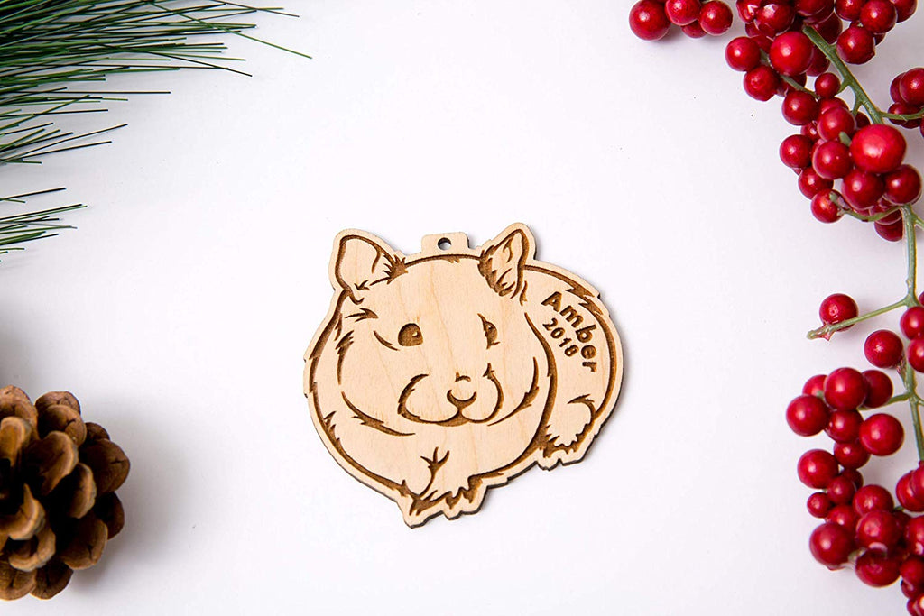 Hamster Christmas Ornament or Magnet - Personalized with Name and Year