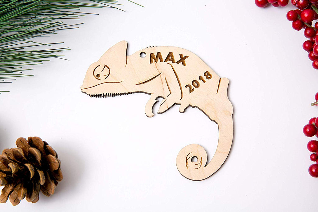 Chameleon Christmas Ornament or Magnet - Personalized with Name and Year