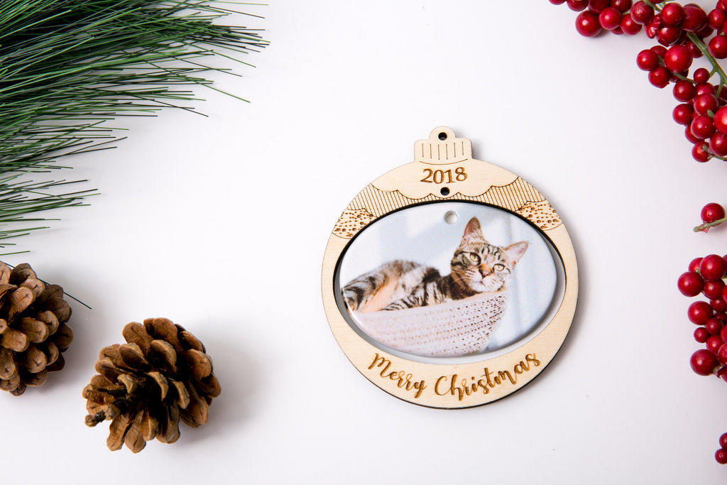 Personalized Christmas Ornament Porcelain Custom Photo Print with Engraved Wood Frame- Christmas Bulb