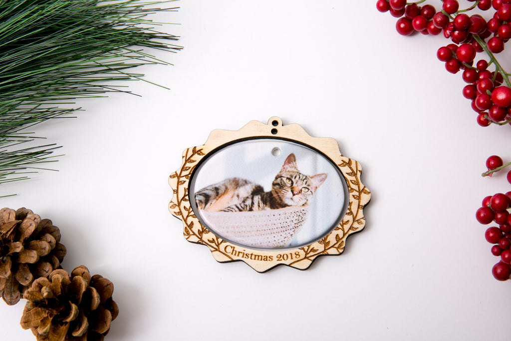 Personalized Christmas Ornament Porcelain Custom Photo Print with Engraved Wood Frame- Scallop Edge Leaves
