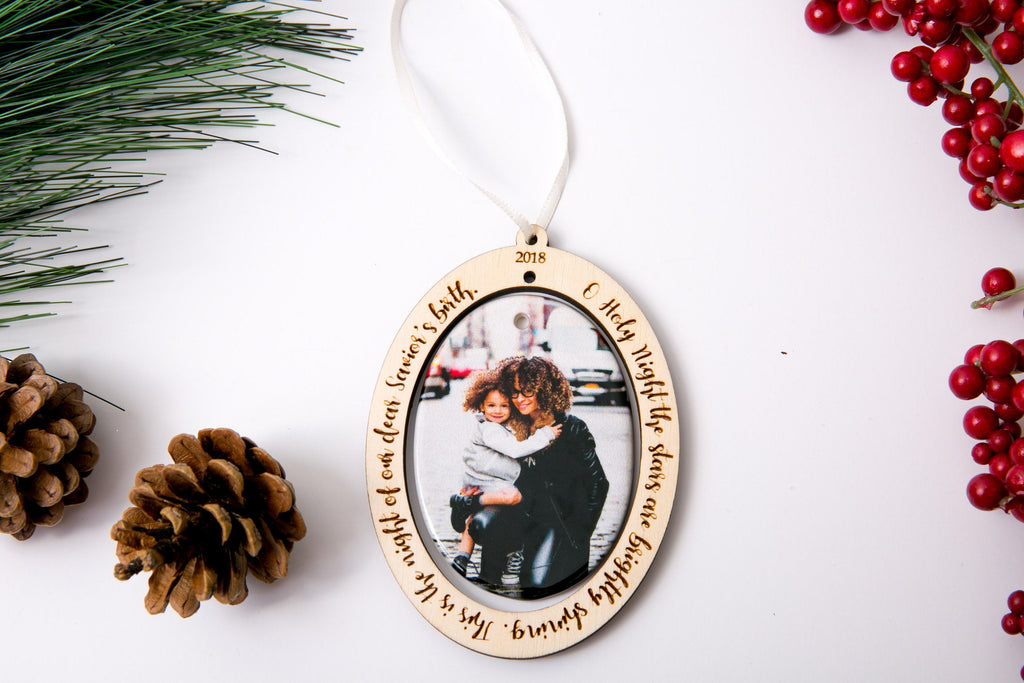 Personalized Christmas Ornament Porcelain Custom Photo Print with Engraved Wood Frame - Oh Holy Night