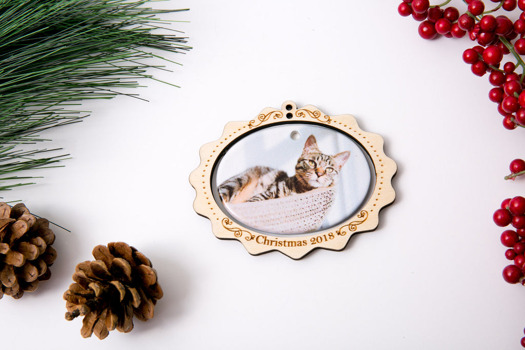 Christmas Ornament Porcelain Custom Photo Print with Engraved Wood Frame- Scallop Edge