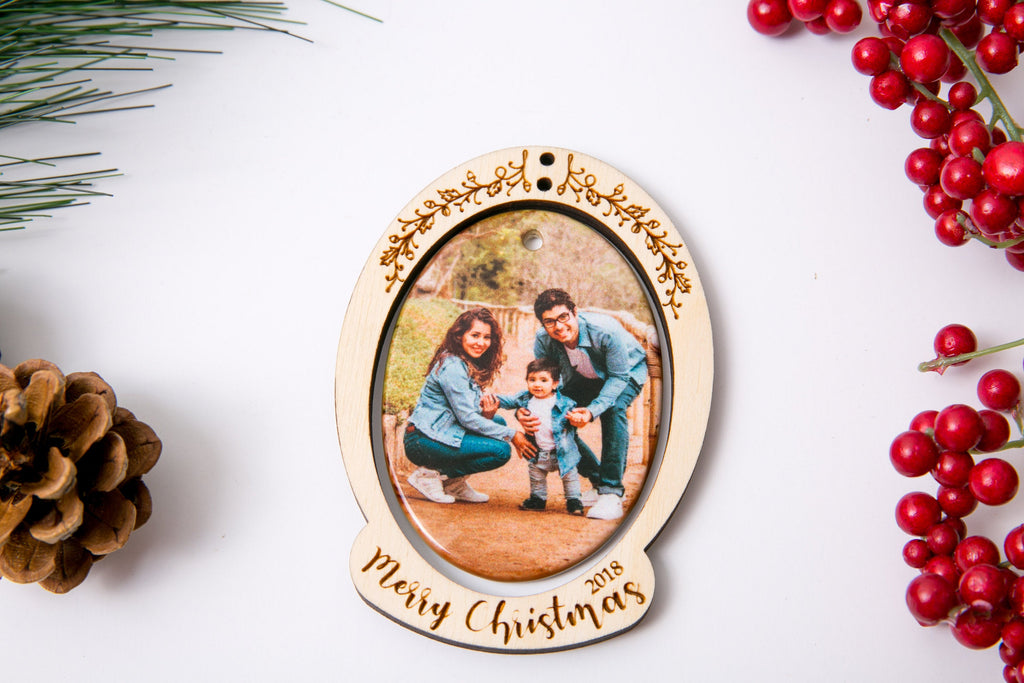 Personalized Christmas Ornament Porcelain Custom Photo Print with Engraved Wood Frame- Merry Christmas Swirls