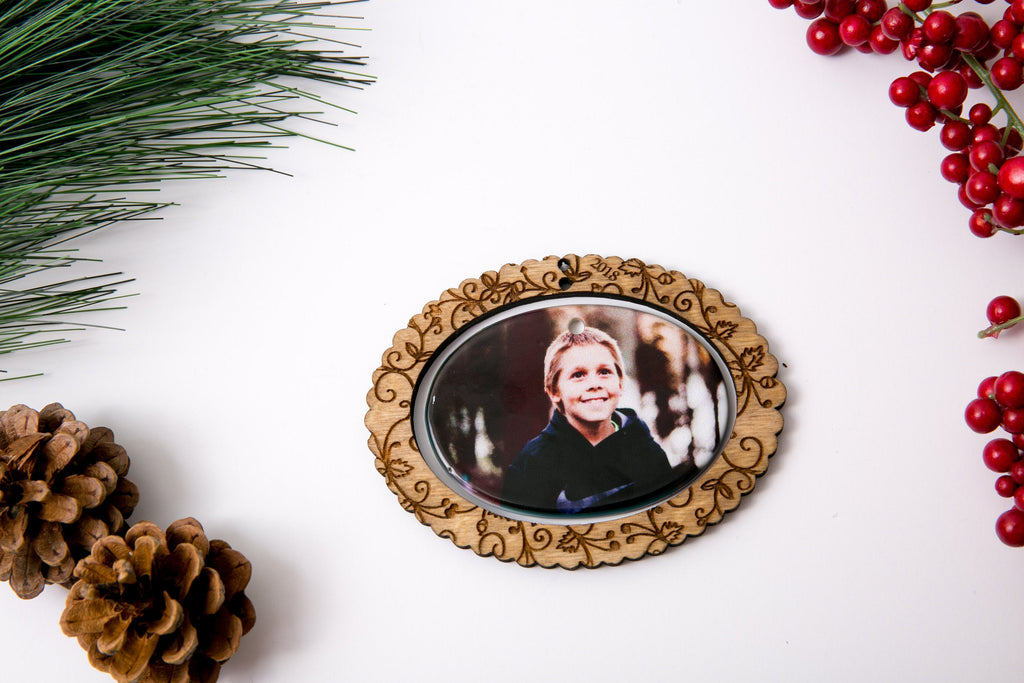 Personalized Christmas Ornament Porcelain Custom Photo Print with Engraved Wood Frame-Wreath with Year