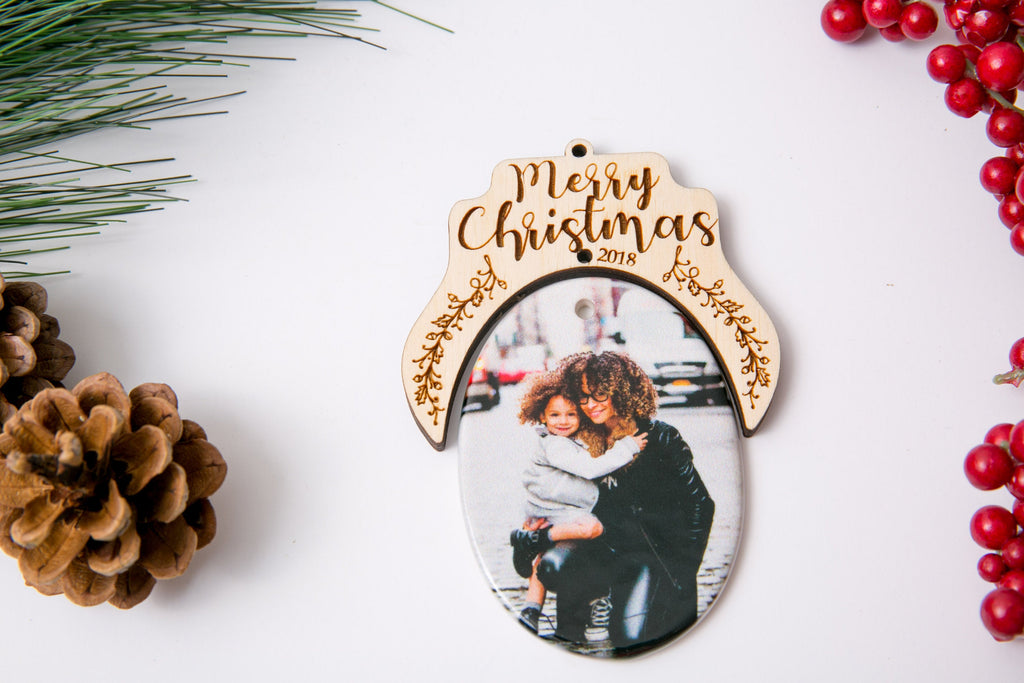 Personalized Christmas Ornament Porcelain Custom Photo Print with Engraved Wood Half Frame- Merry Christmas Script