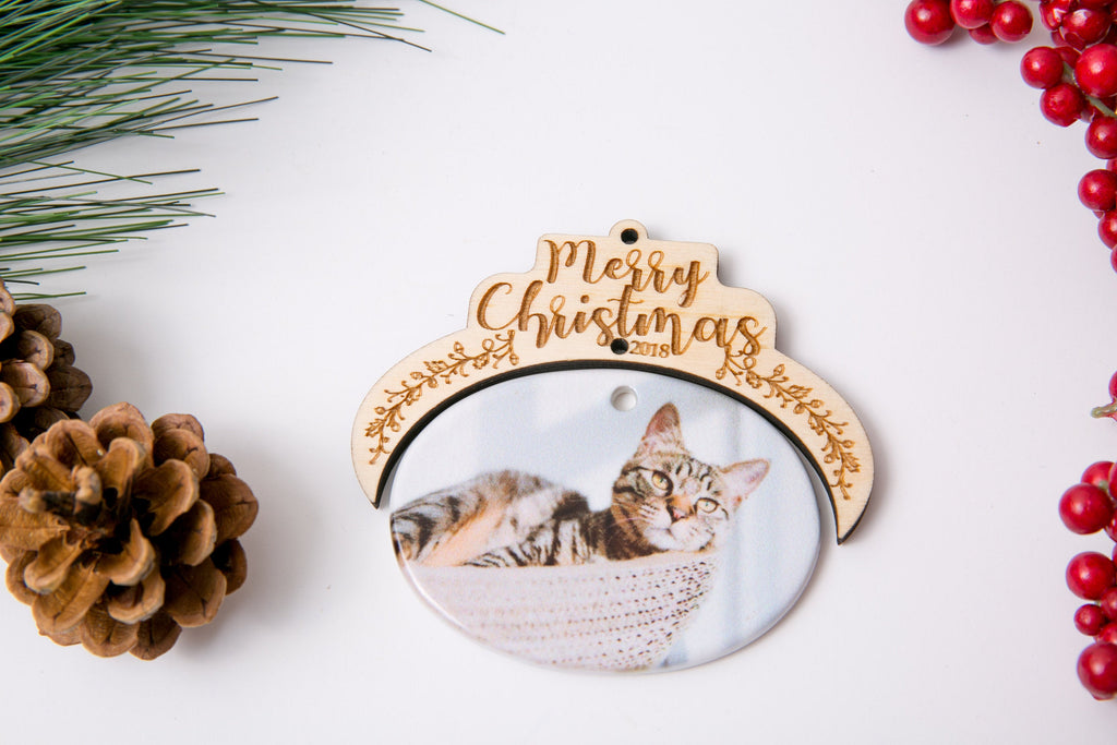 Christmas Ornament Porcelain Custom Photo Print with Engraved Wood Half Frame- Merry Christmas Script