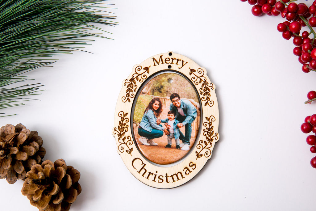 Christmas Ornament Porcelain Custom Photo Print with Engraved Wood Frame- Holly Merry Christmas