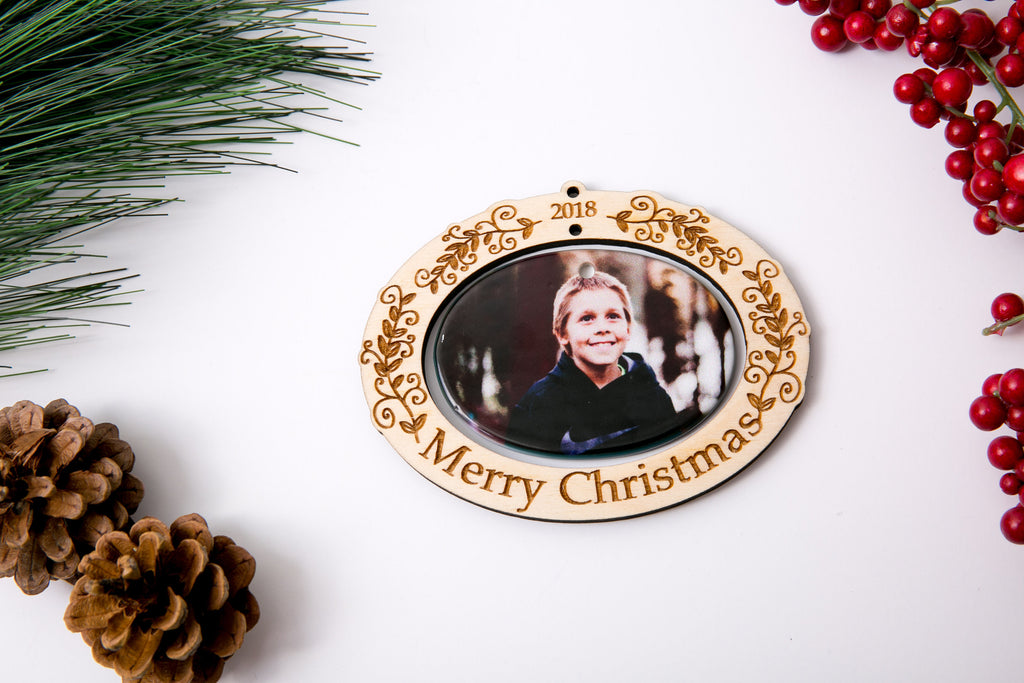 Personalized Christmas Ornament Porcelain Custom Photo Print with Engraved Wood Frame- Holly Merry Christmas