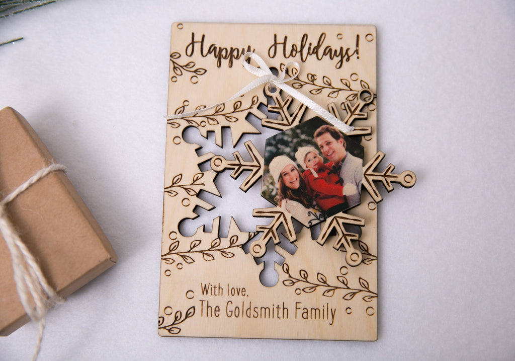 Personalized Photo Holiday Pop Out Card and Christmas Ornament - Snowflake