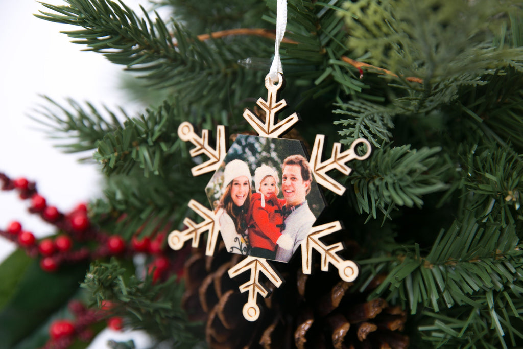 Snowflake - Personalized Photo Holiday Pop Out Card and Christmas Ornament