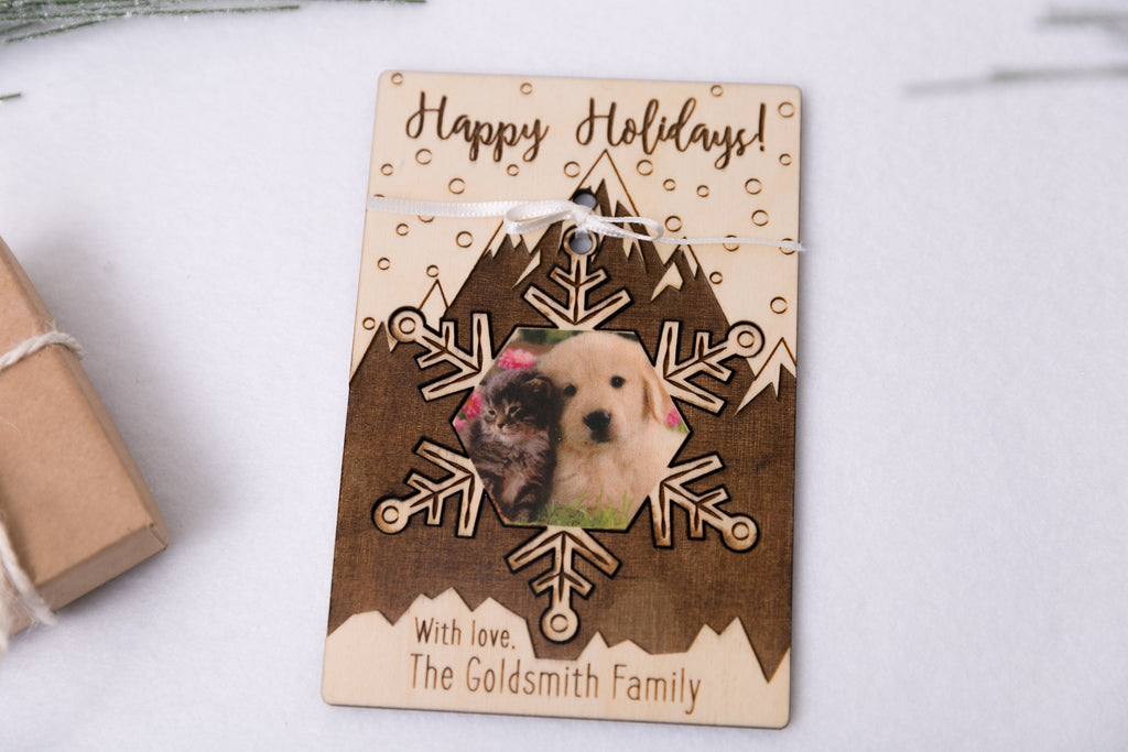 Personalized Photo Holiday Pop Out Card and Christmas Ornament - Snowflake Mountain