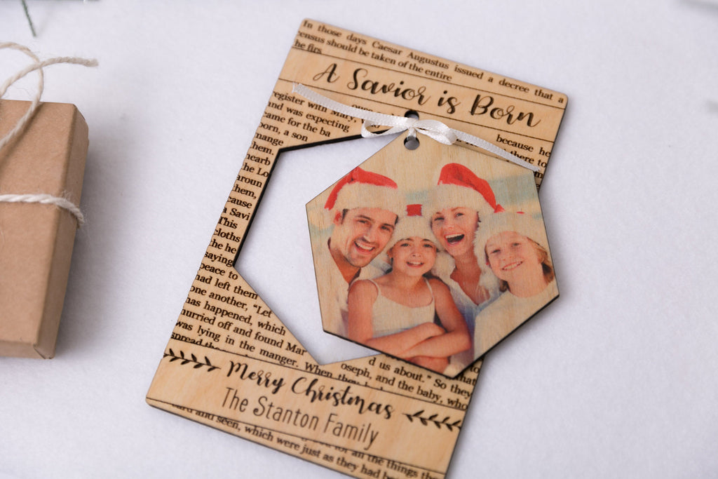 Personalized Photo Holiday Pop Out Card and Christmas Ornament - A Savior is Born