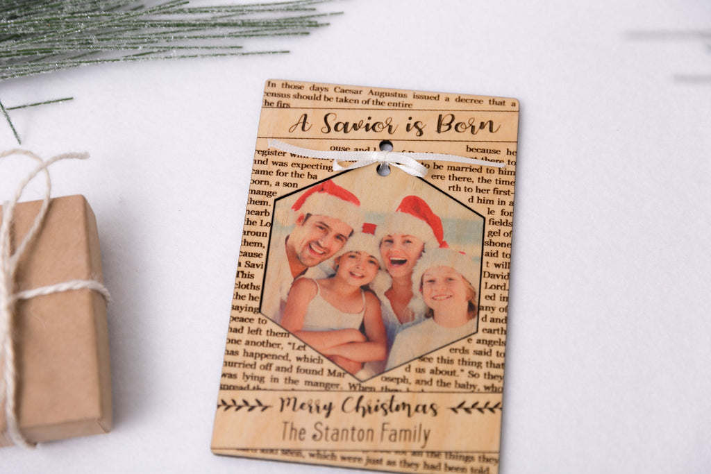 A Savior is Born - Personalized Photo Holiday Pop Out Card and Christmas Ornament