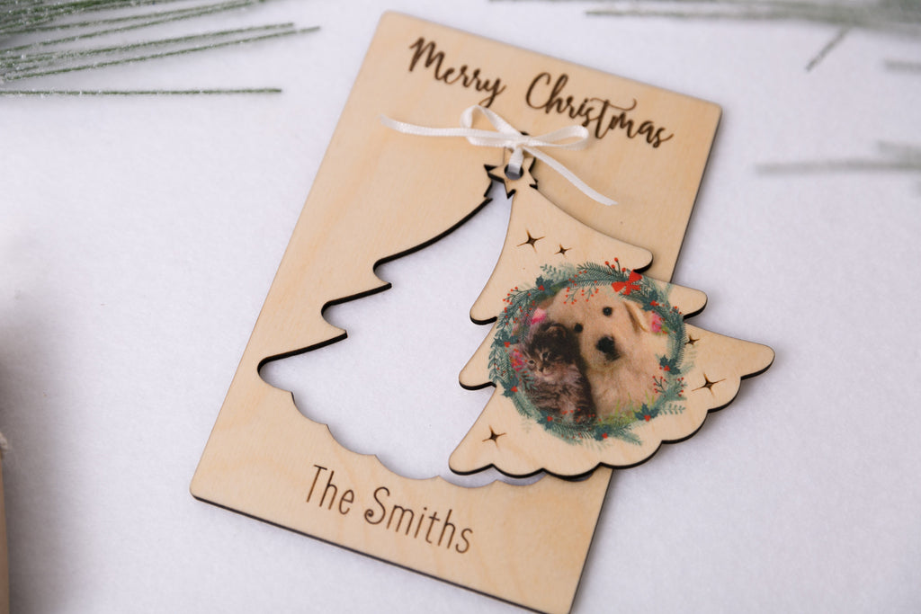 Christmas Tree - Personalized Photo Holiday Pop Out Card and Christmas Ornament
