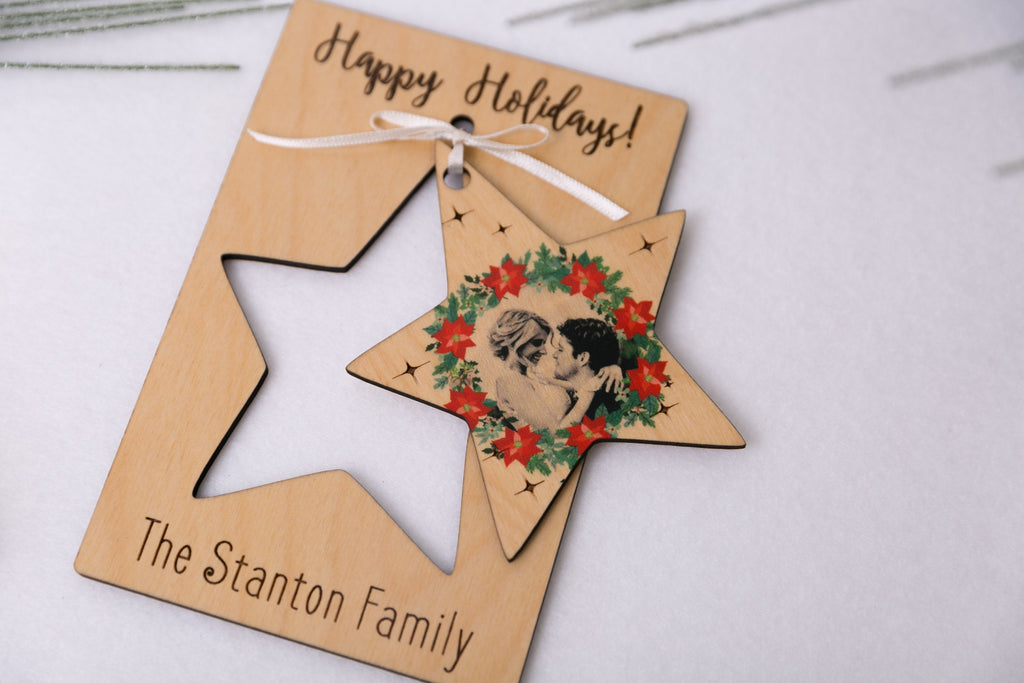Personalized Photo Holiday Pop Out Card and Christmas Ornament - Star