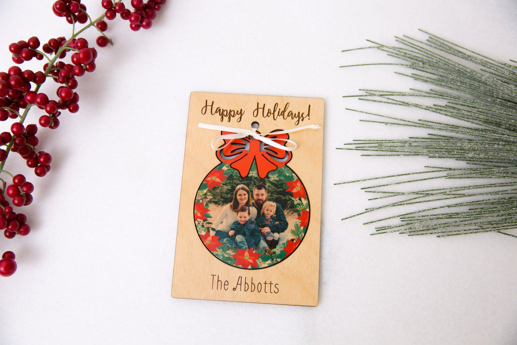 Personalized Photo Holiday Pop Out Card and Christmas Ornament - Christmas Ribbon Bulb