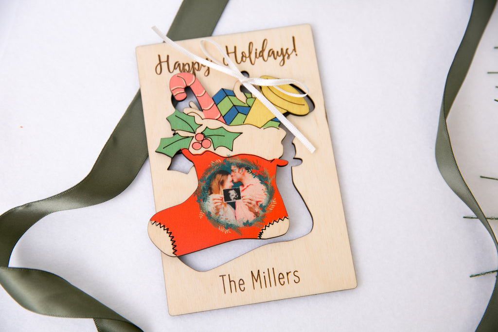 Personalized Photo Holiday Pop Out Card and Christmas Ornament - Christmas Stocking