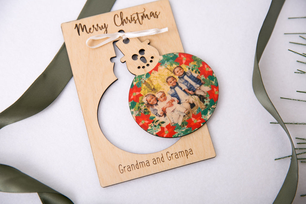 Frosty Snowman - Personalized Photo Holiday Pop Out Card and Christmas Ornament