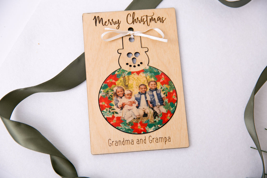 Personalized Photo Holiday Pop Out Card and Christmas Ornament - Frosty Snowman