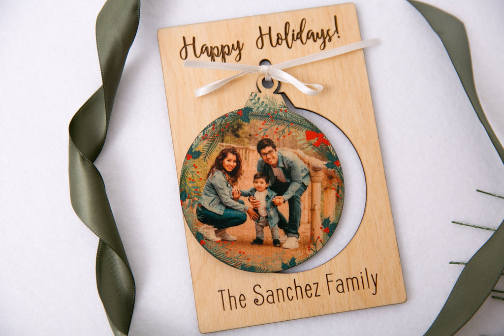 Personalized Photo Holiday Pop Out Card and Christmas Ornament - Christmas Bulb