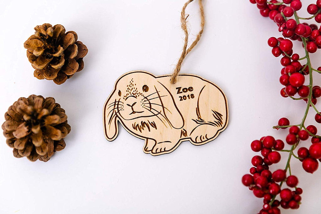 Bunny Christmas Ornament or Magnet - Personalized with Name and Year