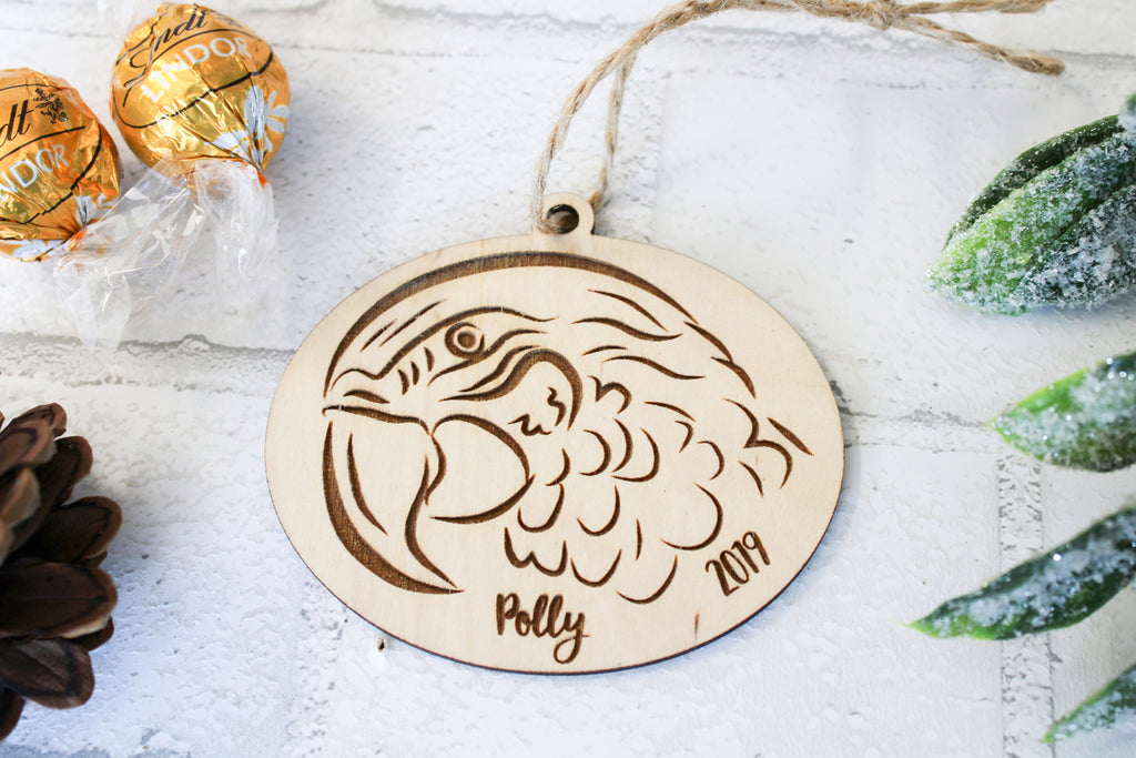 Macaw Christmas Ornament - Personalized with Name and Date