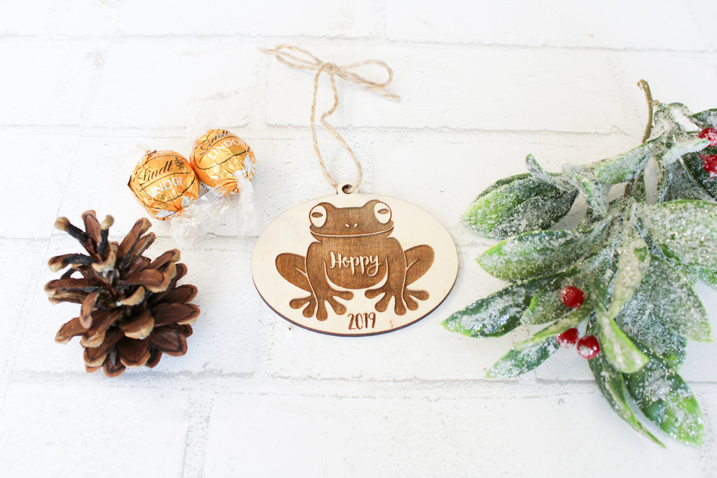 Frog Christmas Ornament - Personalized with Name and Year