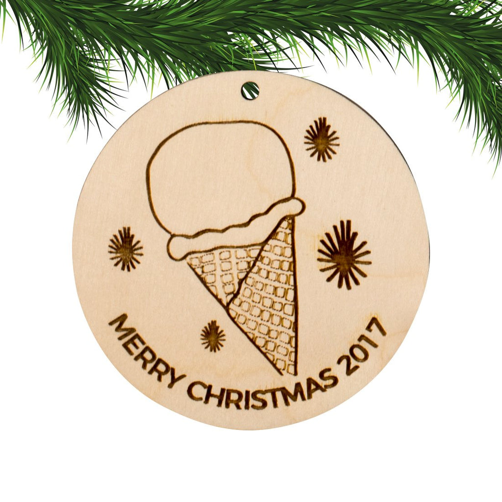 Christmas Ornament Engraved Wood - Merry Christmas - Ice Cream Cone with Year