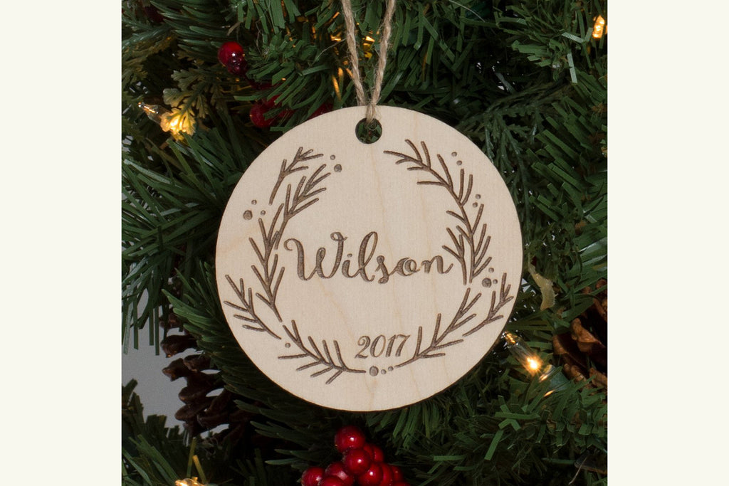 Family Christmas Ornament Engraved Wood - Christmas Wreath, Personalized