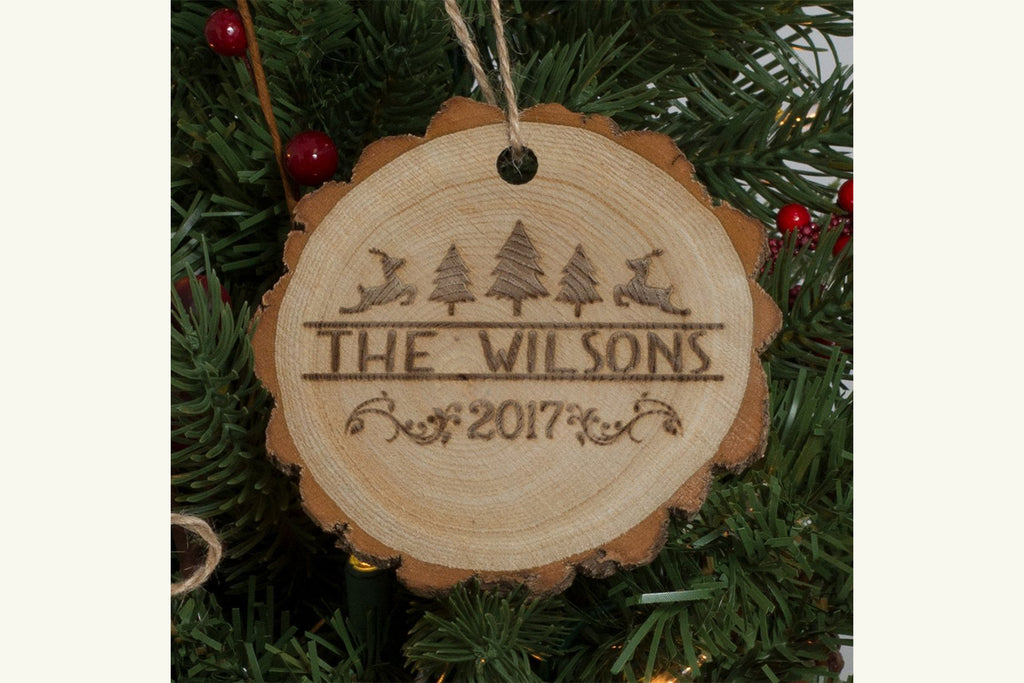 Personalized Family Christmas Ornament Engraved Wood - Christmas Designs