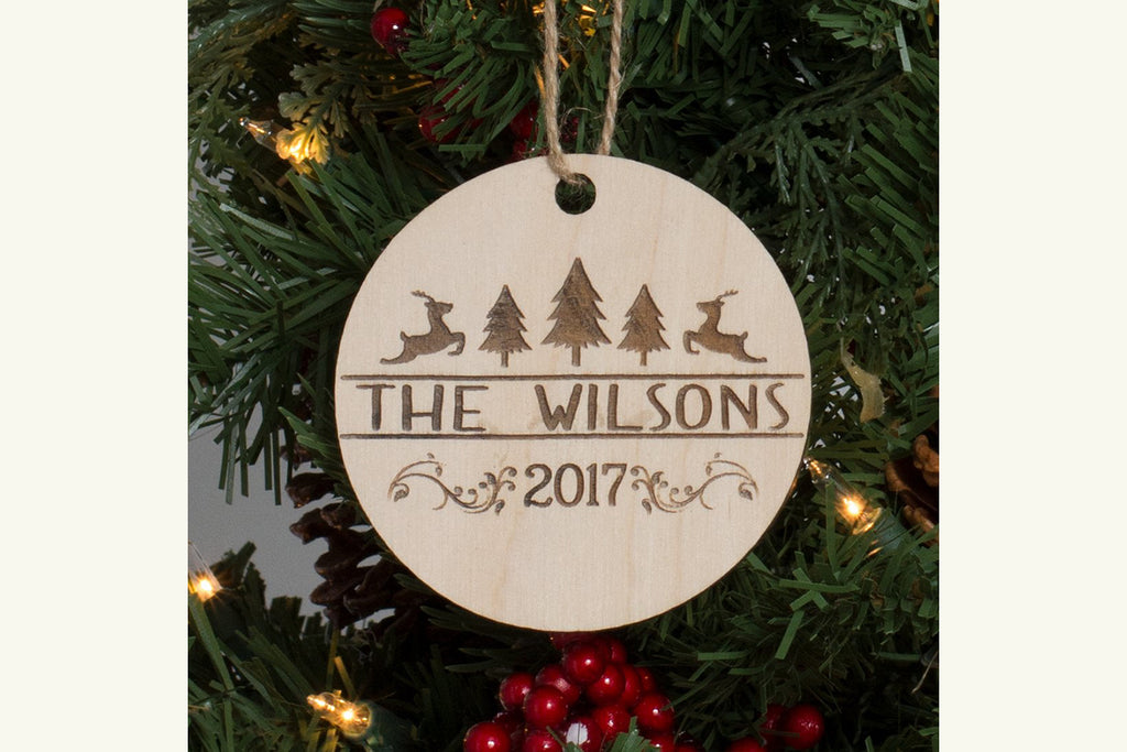 Family Christmas Ornament Engraved Wood - Christmas Designs, Personalized