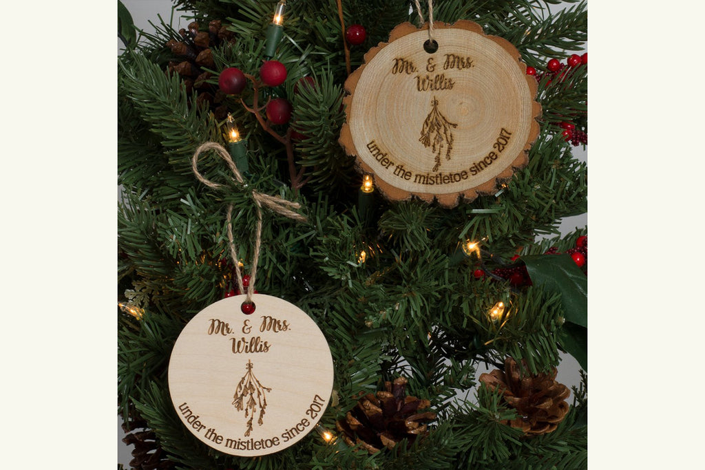 Mr & Mrs Personalized Christmas Ornament Engraved Wood - Under the Mistletoe