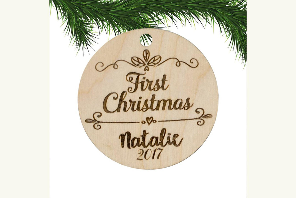 Baby's First Christmas Personalized Ornament Engraved Wood
