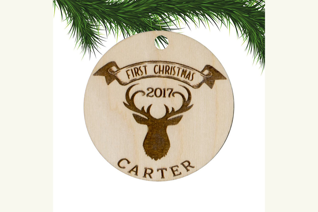 Baby's First Christmas Personalized Ornament  - Deer