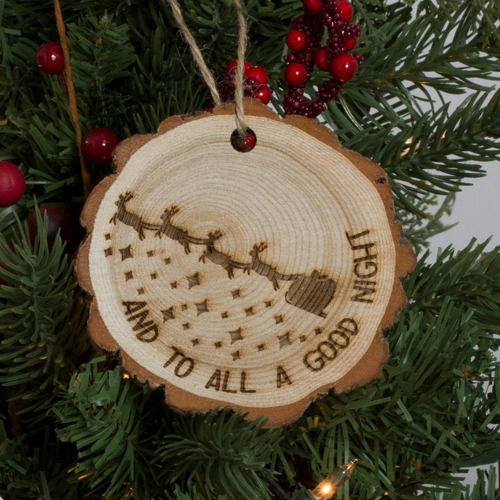 Christmas Ornament Engraved Wood - And to All a Good Night - Santa's Sleigh