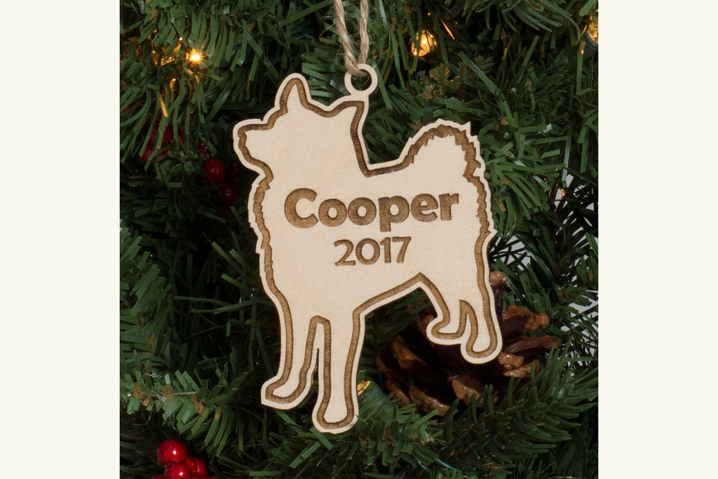 Pet Christmas Ornament Engraved Wood - Dog, Personalized
