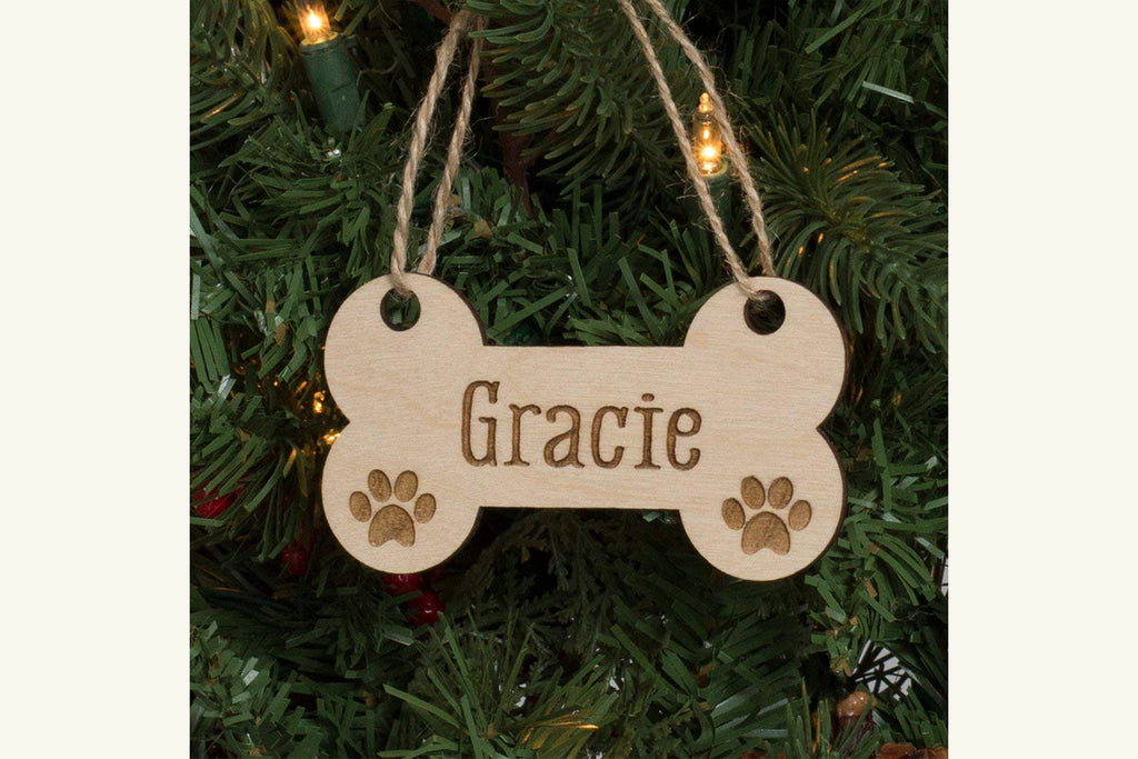 Dog Bone & Paw Prints - Personalized Pet Christmas Ornament or Magnet