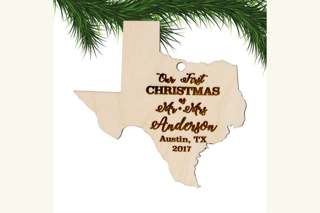 Personalized Christmas Ornament Engraved Wood - Our First Christmas State
