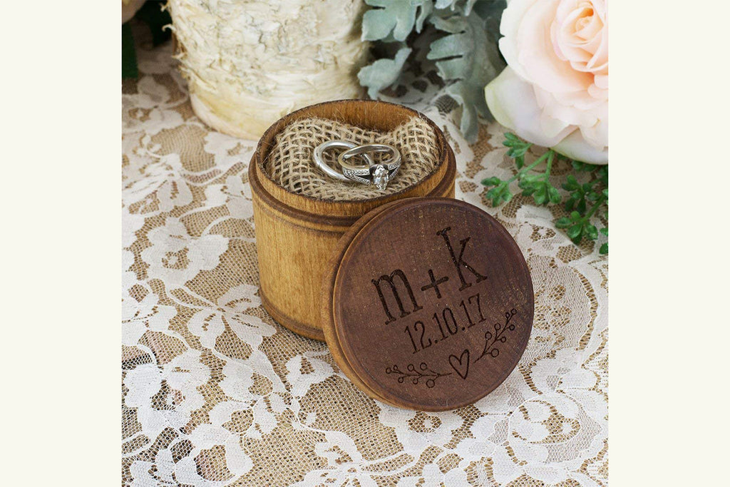 Personalized Engraved Wood Ring Bearer Pillow Box - Heart Initials and Date