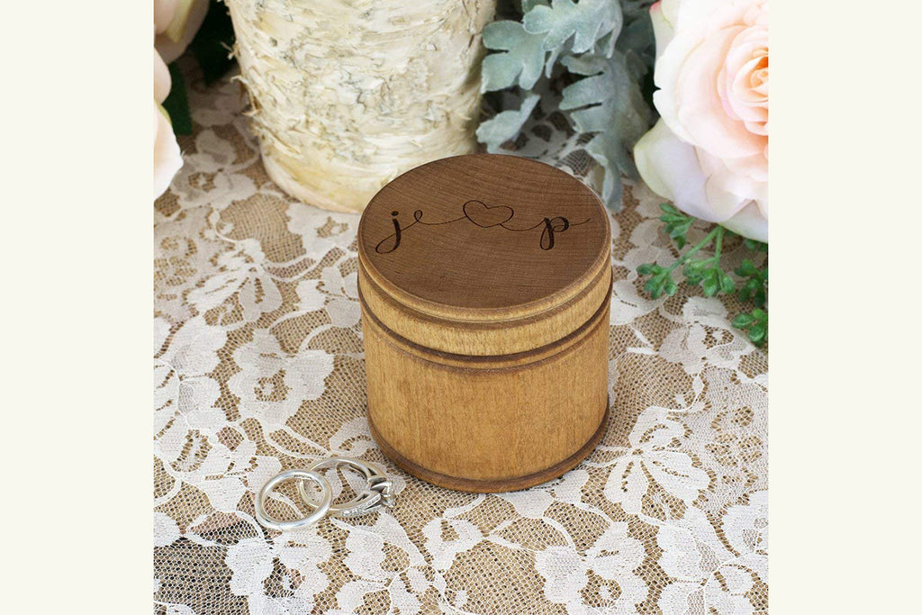 Engraved Ring Bearer Wood Pillow Box - Personalized Heart and Initials
