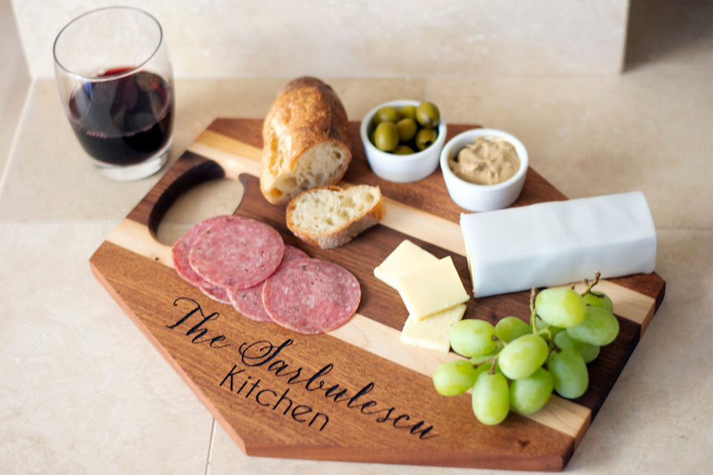 Handmade Hardwood Charcuterie / Cheese Board with 2 Ceramic Cups - Personalized Hexagon or Oval