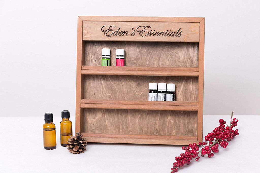 "Engraved Essential Oil Storage Wood Shelf Rack, 13""x13"", Personalized"