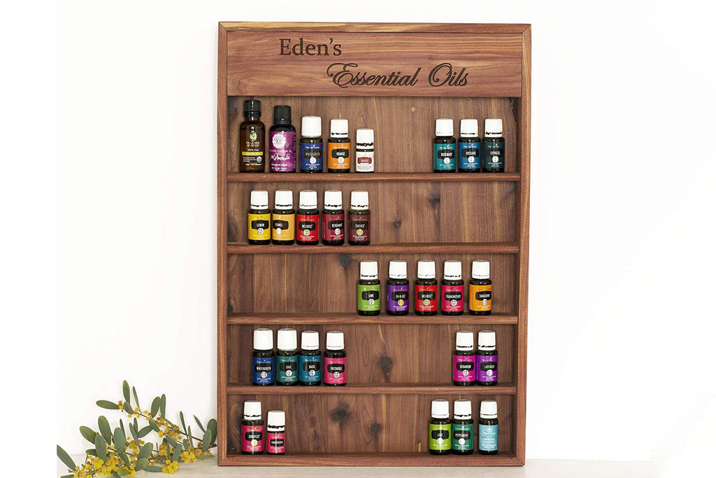 "Engraved Essential Oil Storage Wood Shelf, 21""x 15"", Personalized"