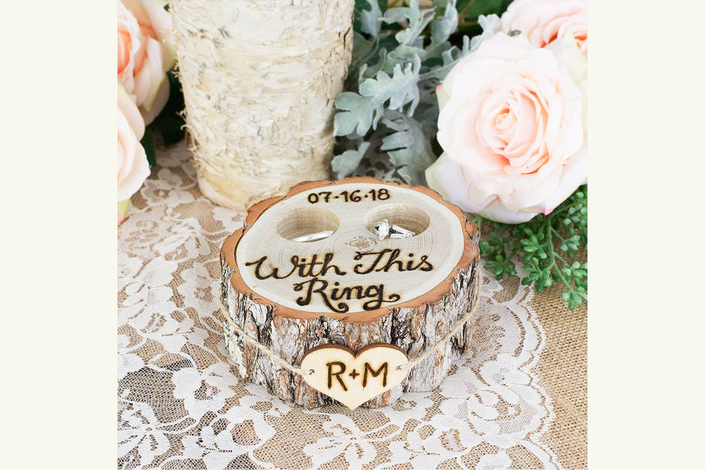 Rustic Tree Stump Ring Bearer Pillow Box - With This Ring, Personalized