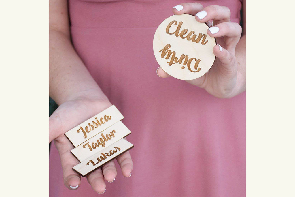 Dishwasher Magnet - Clean Dirty - Add Family Name Tags