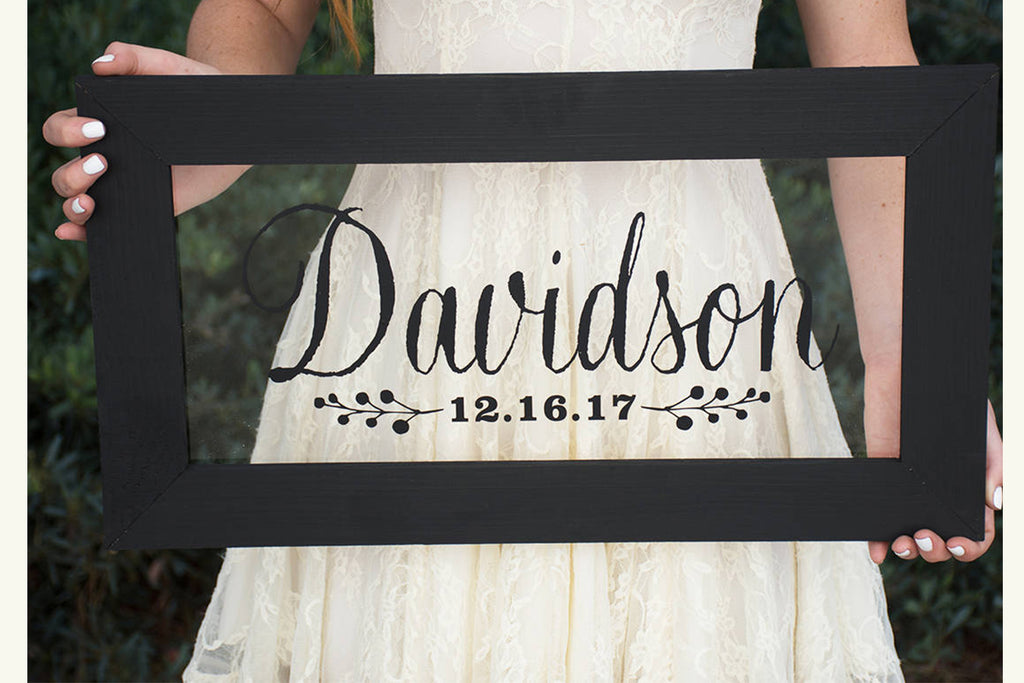 Wood Frame Sign - Personalized with Family Last Name and Date