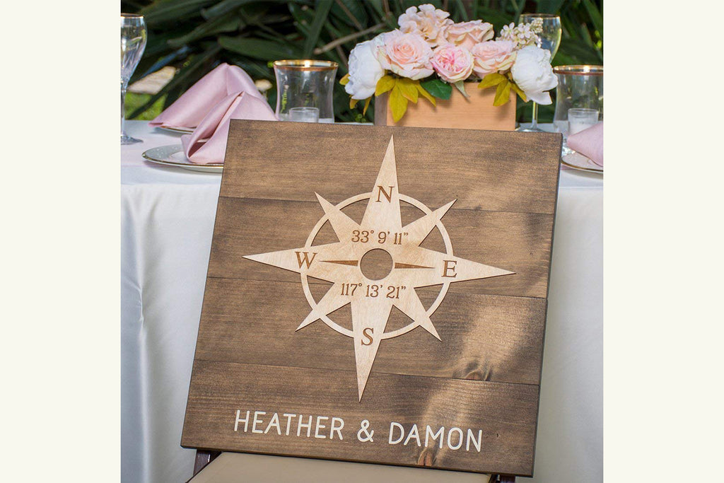 Wood Sign with Compass Rose - Personalized with Client Names and Latitude/Longitude GPS Coordinates