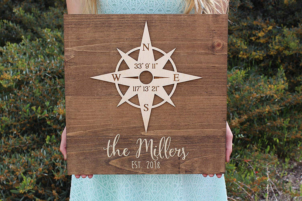 Wood Sign with Compass Rose - Personalized with Client Names (Cursive) and Latitude/Longitude GPS Coordinates